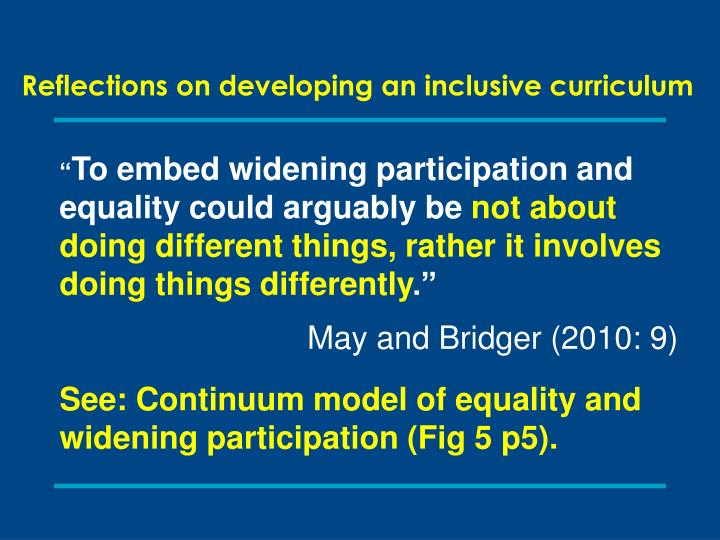 Reflections on developing an inclusive curriculum