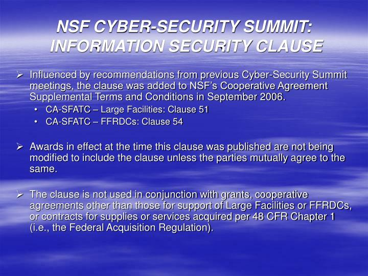 nsf cyber security summit information security clause n.