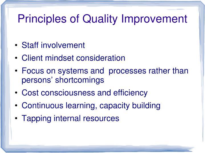 Principles of Quality Improvement