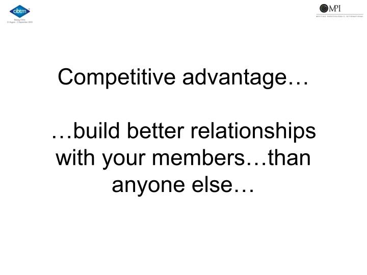 Competitive advantage…