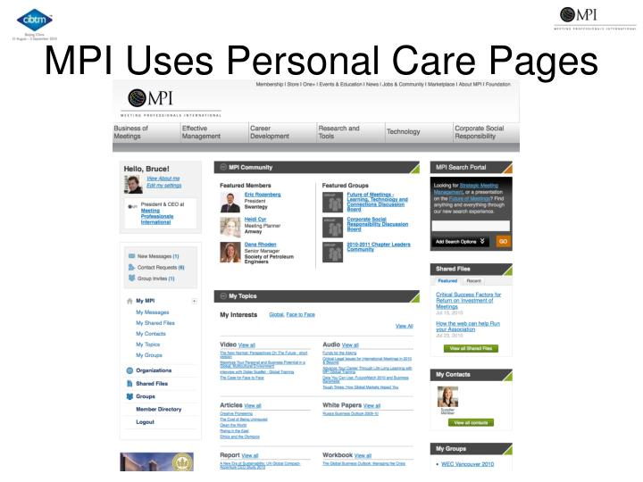 MPI Uses Personal Care Pages