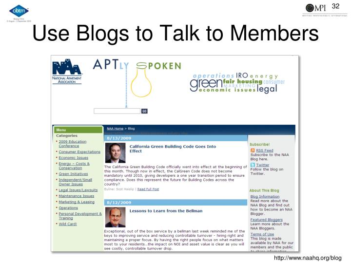 Use Blogs to Talk to Members