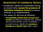 assessment of resistance factors