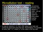 microdilution test reading