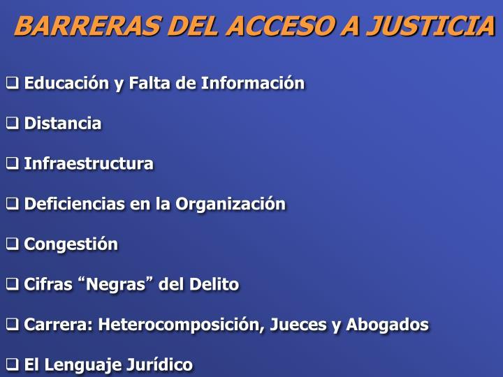 Barreras del acceso a justicia