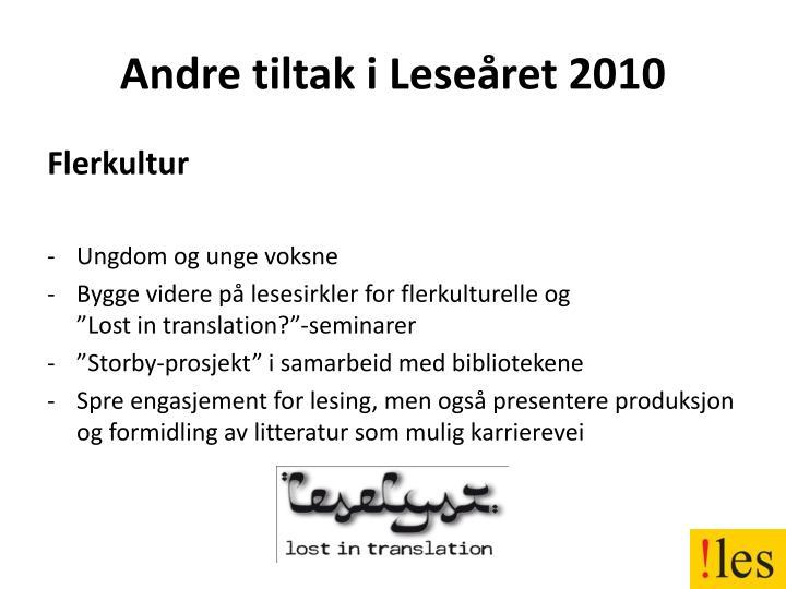 Andre tiltak i Leseåret 2010