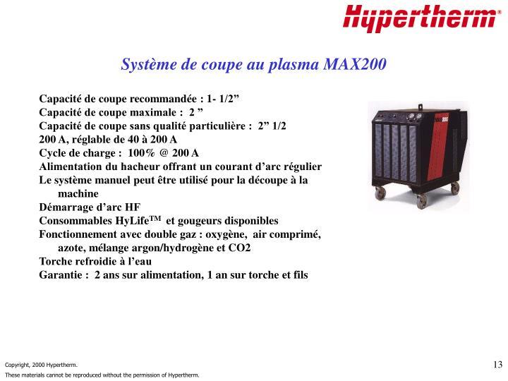 Système de coupe au plasma MAX200