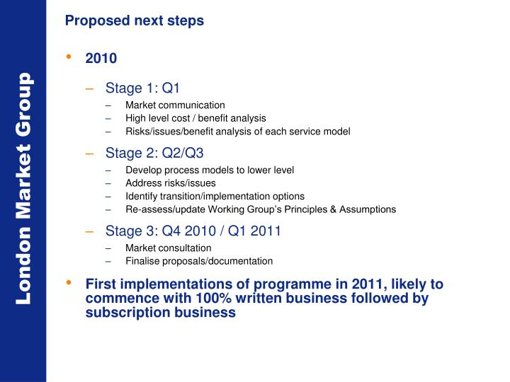 Proposed next steps