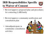 irb responsibilities specific to waiver of consent