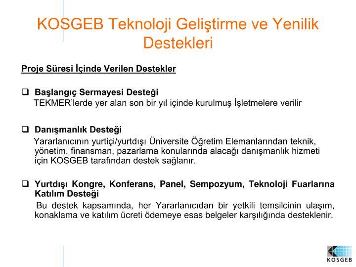 KOSGEB Teknoloji Geliştirme ve Yenilik Destekleri
