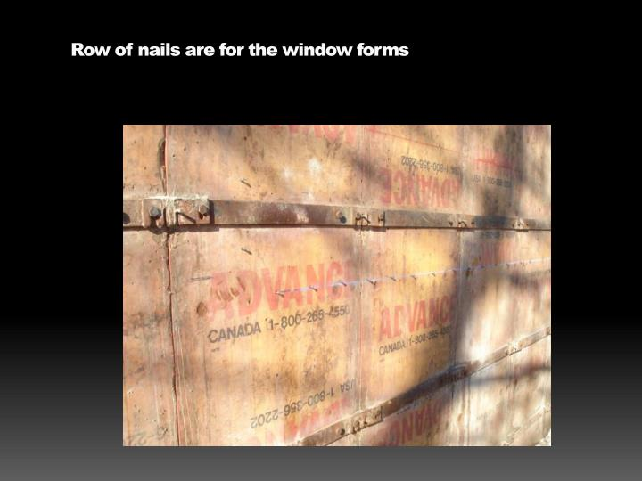 Row of nails are for the window forms