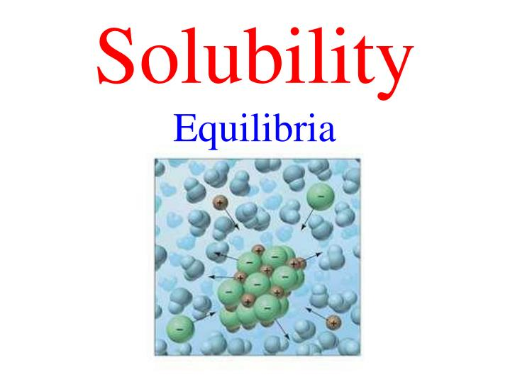 the study of solubility equilibrium Copyright sautter 2003 solubility equilibrium solubility refers to the ability of a substance to dissolve in the study of solubility equilibrium we generally deal with low solubility compounds (those which dissolve poorly) low solubility compounds are classified as precipitates.
