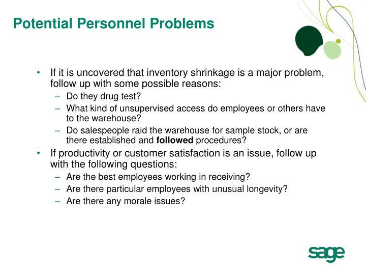 Potential Personnel Problems