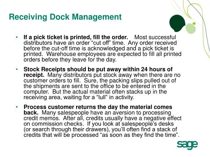 Receiving Dock Management