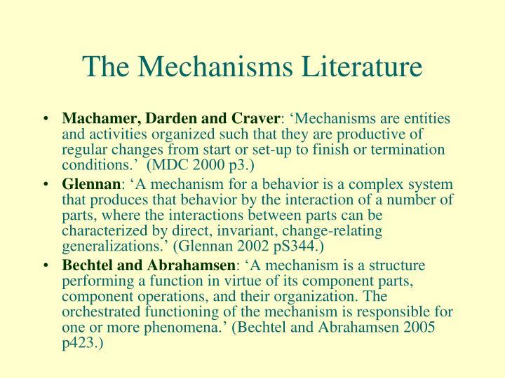 The mechanisms literature