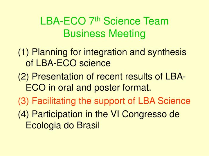 Lba eco 7 th science team business meeting