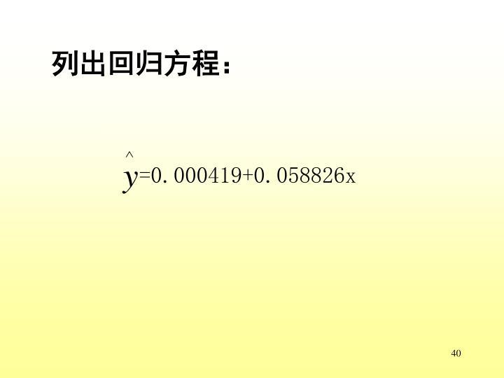 列出回归方程: