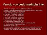 vervolg voorbeeld medische info
