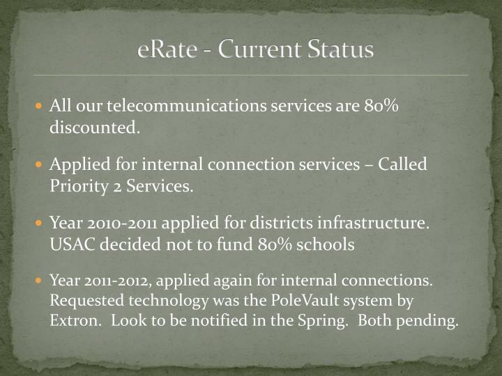 Erate current status