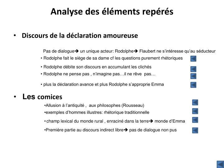 Analyse des éléments repérés