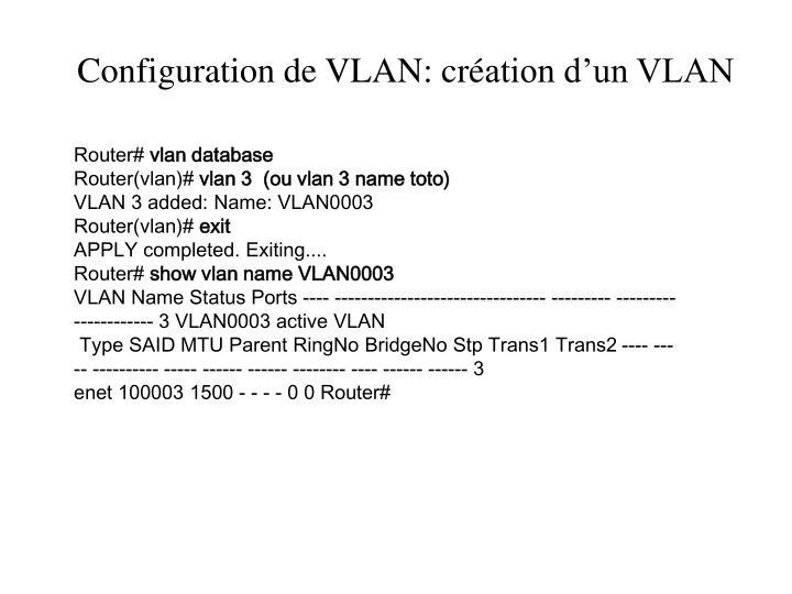 Configuration de VLAN