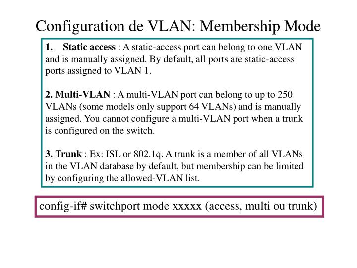 Configuration de VLAN: Membership Mode