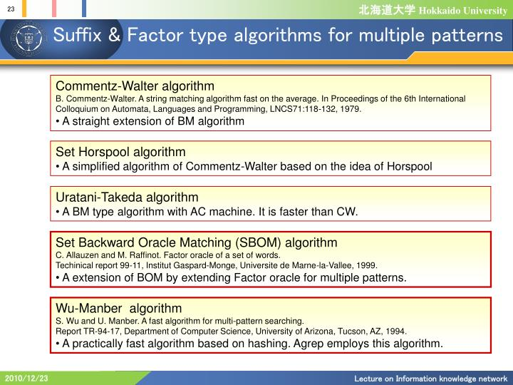 Suffix & Factor type algorithms for multiple patterns