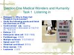 section one medical wonders and humanity task 1 listening in