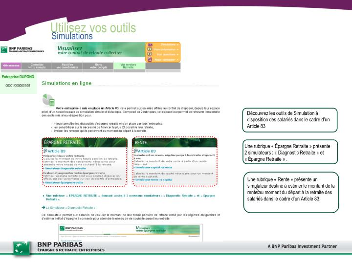 Découvrez les outils de Simulation à disposition des salariés dans le cadre d'un Article 83