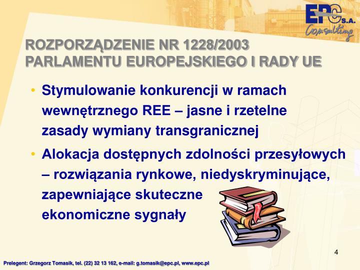 ROZPORZĄDZENIE NR 1228/2003 PARLAMENTU EUROPEJSKIEGO I RADY UE
