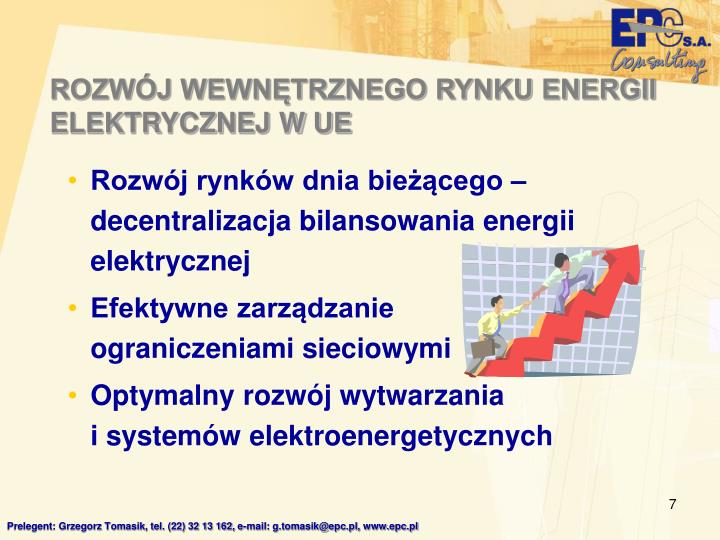 ROZWÓJ WEWNĘTRZNEGO RYNKU ENERGII ELEKTRYCZNEJ W UE