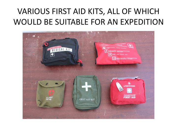 Various first aid kits all of which would be suitable for an expedition