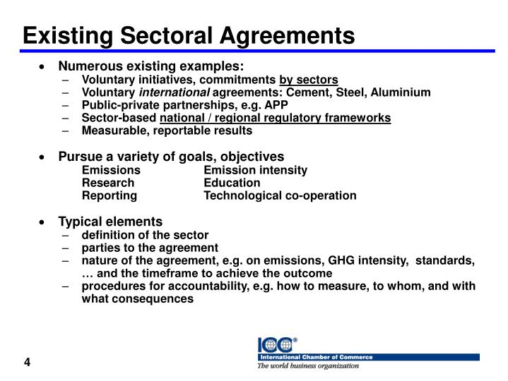 Existing Sectoral Agreements