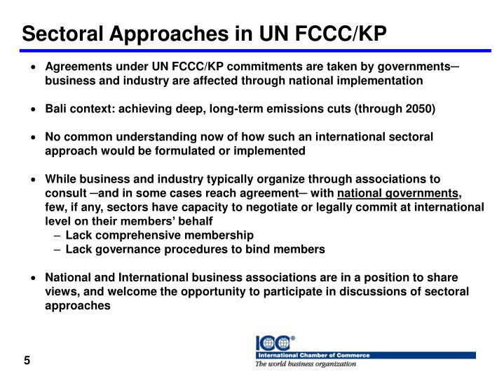 Sectoral Approaches in UN FCCC/KP