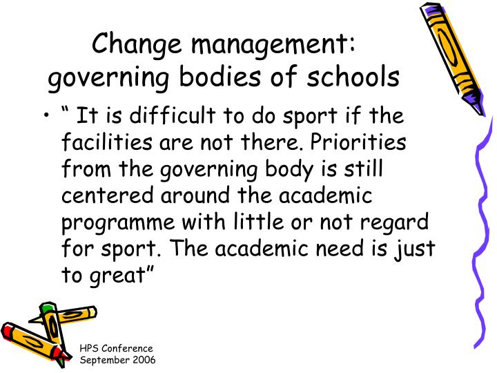 Change management: governing bodies of schools