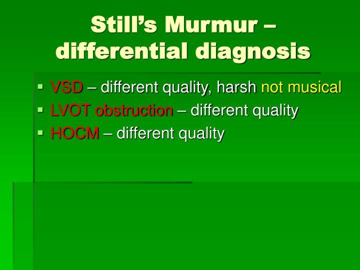 Still's Murmur – differential diagnosis