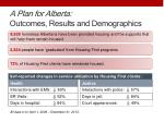 a plan for alberta outcomes results and demographics