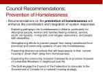 council recommendations prevention of homelessness