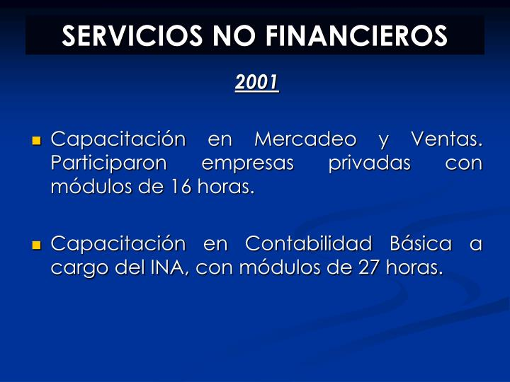 SERVICIOS NO FINANCIEROS