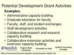 potential development grant activities