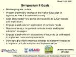 symposium ii goals