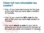 claim full non refundable tax credits