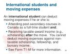 international students and moving expenses