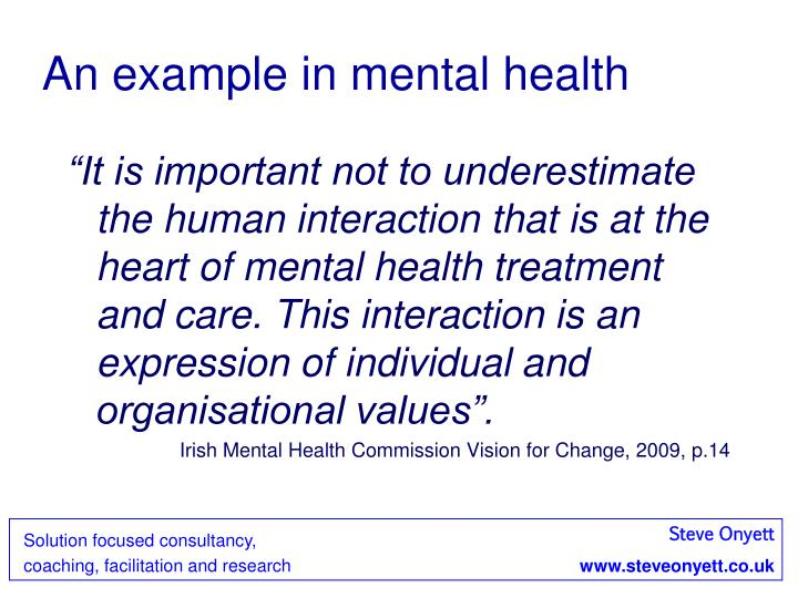 An example in mental health