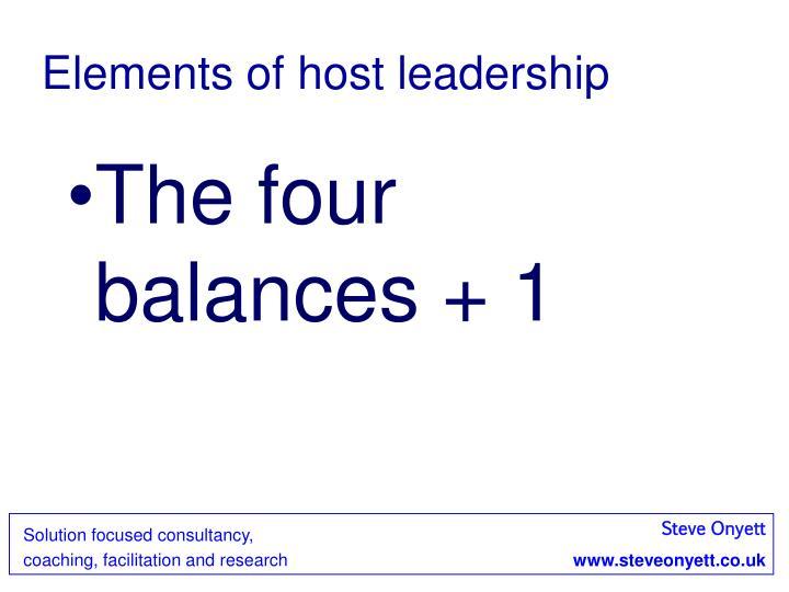 Elements of host leadership