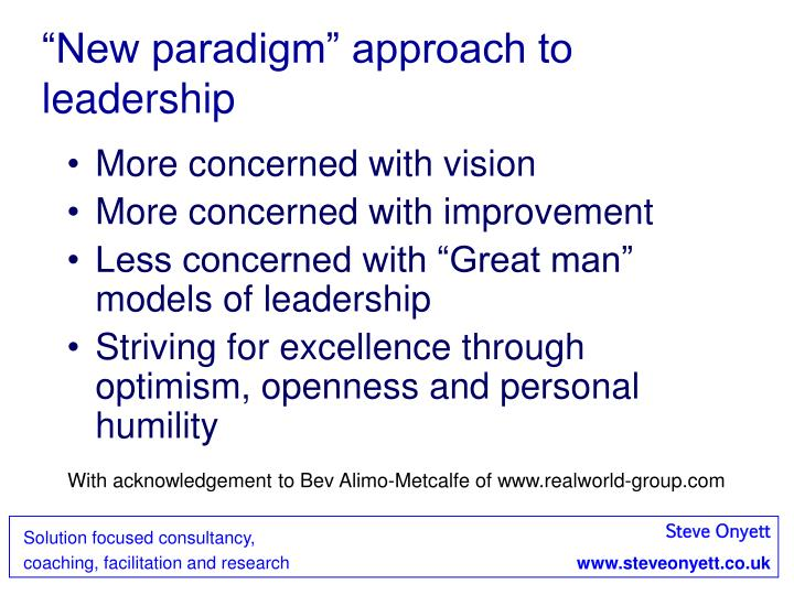 """""""New paradigm"""" approach to leadership"""