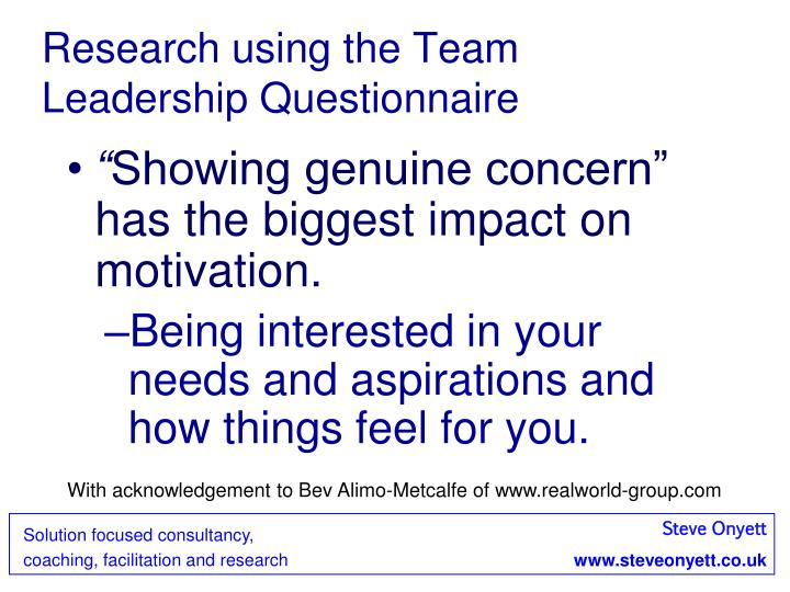 Research using the Team Leadership Questionnaire