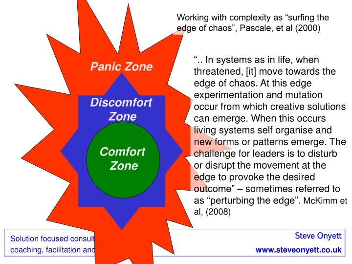 """Working with complexity as """"surfing the edge of chaos"""", Pascale, et al (2000)"""