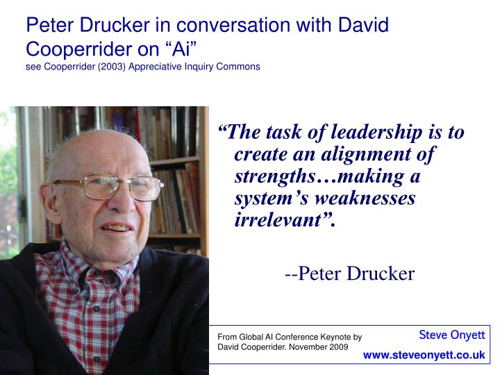 """Peter Drucker in conversation with David Cooperrider on """"Ai"""""""