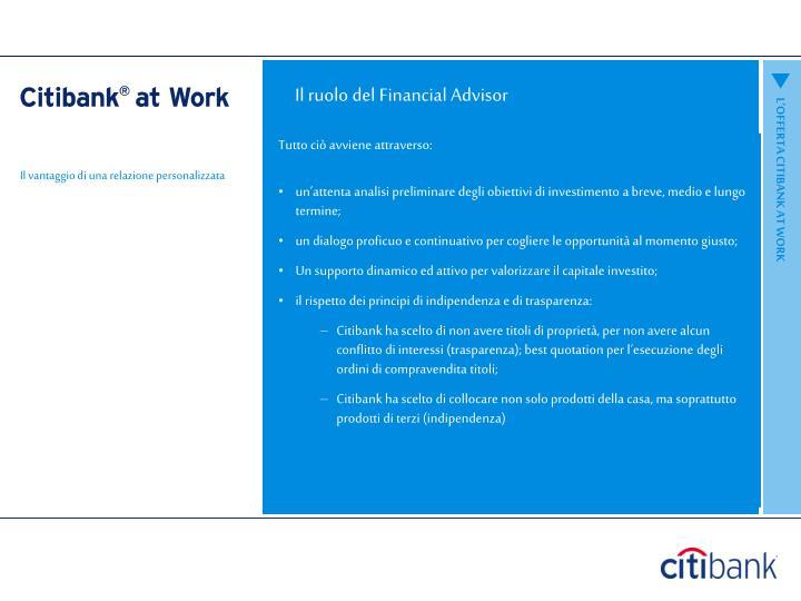 Il ruolo del Financial Advisor